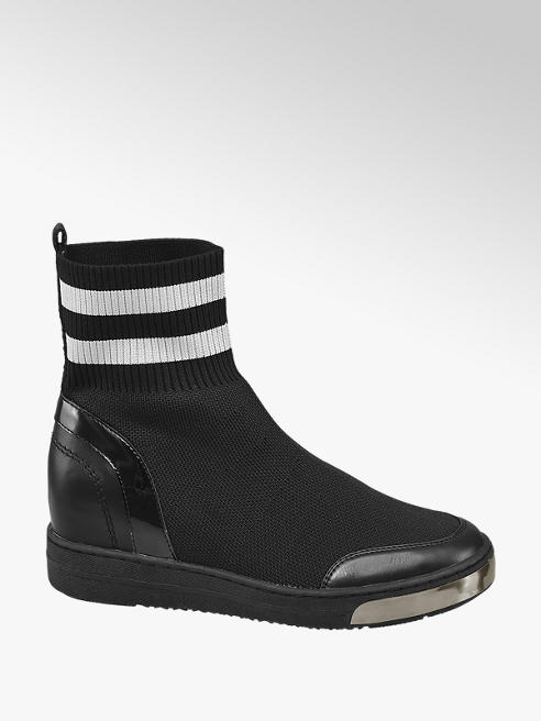 Graceland Zwarte sock boot wedge