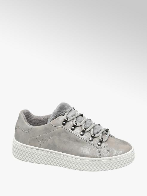 Graceland Zilveren sneaker plateauzool bont
