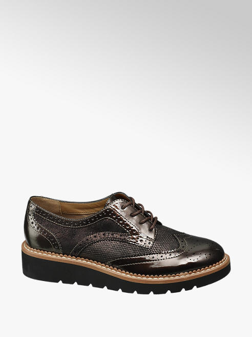 Graceland Bronzen brogue veterschoen