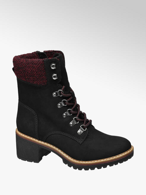 Landrover Black Heeled Lace-up Ankle Boots