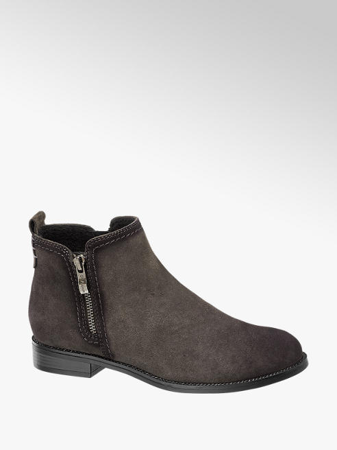 5th Avenue Grey Leather Zip-up Chelsea Boots