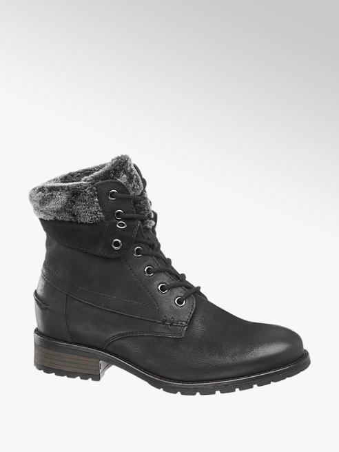 Landrover Black Fur Top Lace-up Ankle Boots