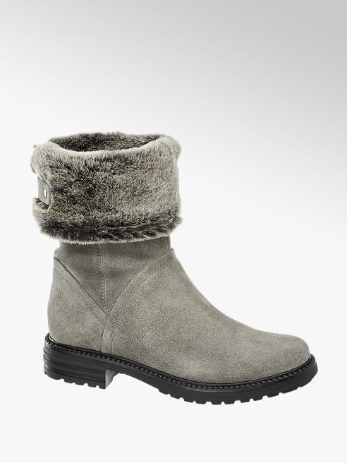 5th Avenue Grey Fur Top Leather Ankle Boots