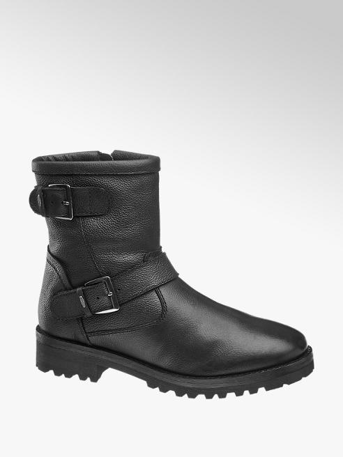 5th Avenue Black Leather Zip-up Ankle Boots