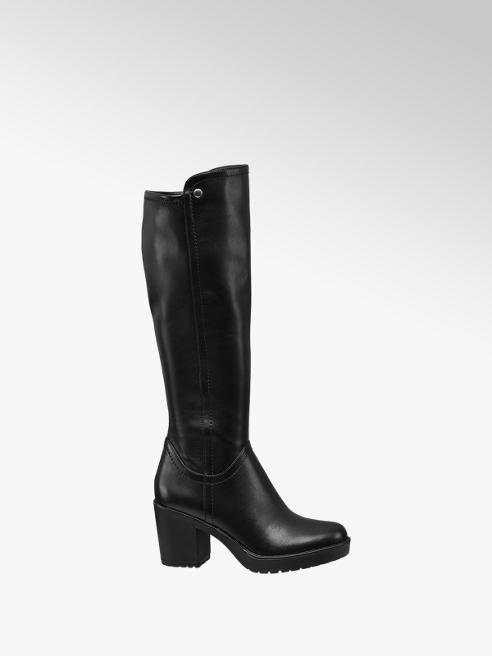 Graceland Black Chunky Heeled Long Leg Boots
