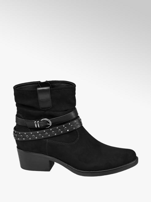 Graceland Black Block Heeled Western Ankle Boots