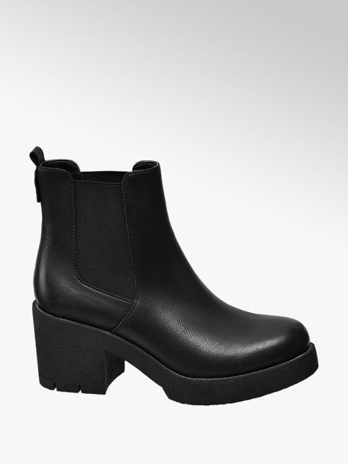 Catwalk Black Chunky Heeled Boots