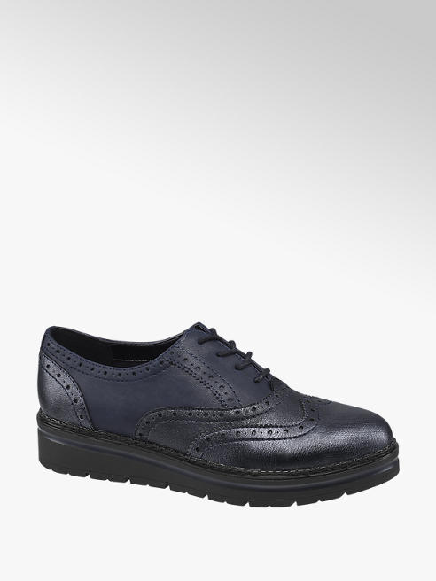 Graceland Navy Lace Up Chunky Brogues