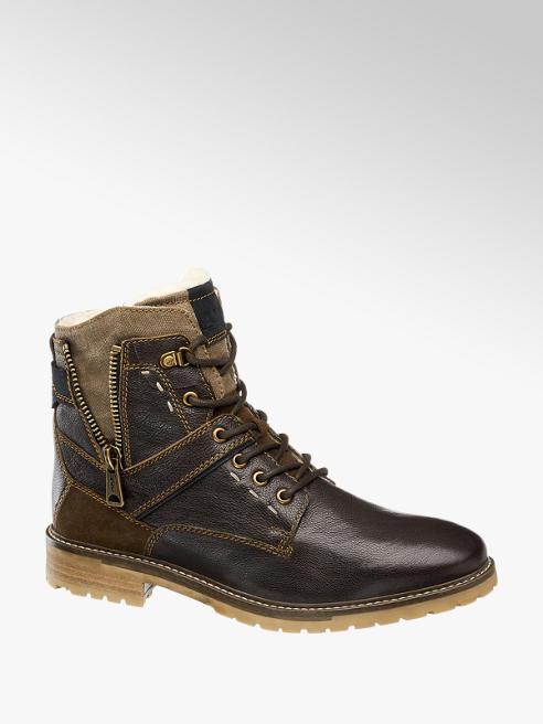 AM shoe Donkerbruine leren boot vetersluiting