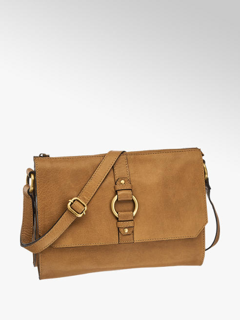 5th Avenue Beige schoudertas leer