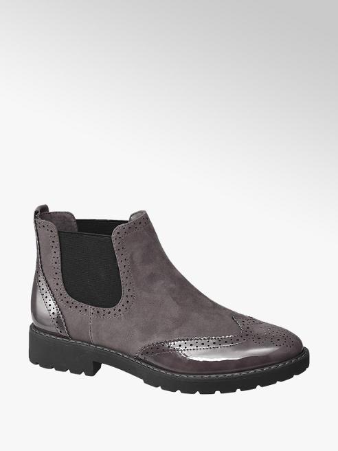 Graceland Grey Brogue Detail Chelsea Boots