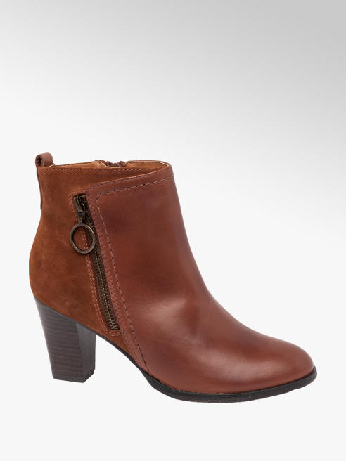 5th Avenue Tan Ring Zip Heeled Ankle Boots