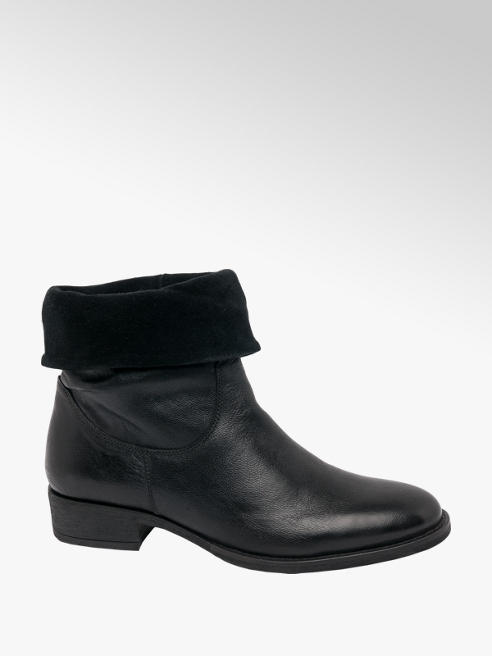 5th Avenue Black Roll Over Zip-up Ankle Boots