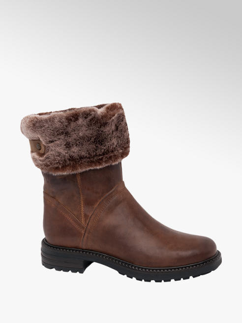 5th Avenue Brown Fur Top Zip Up Leather Boots