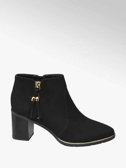 Graceland Black Tassel Zip Up Heeled Boots