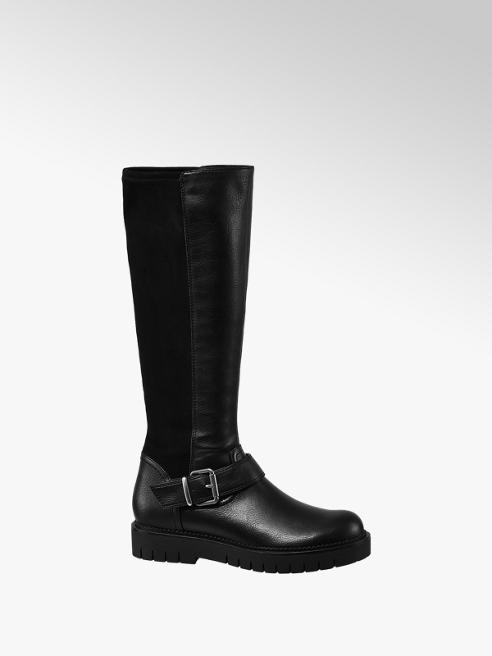 Graceland Black Buckle Detail Long Leg Boots