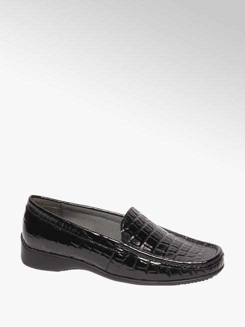 5th Avenue Zwarte leren loafer crocoprint