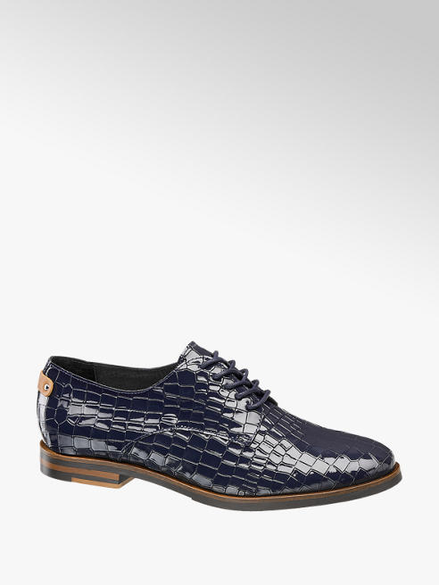 5th Avenue Donkerblauwe lak leren veterschoen croco