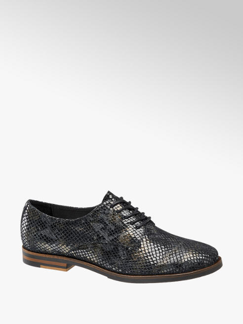 5th Avenue Zwarte lak leren veterschoen slangenprint