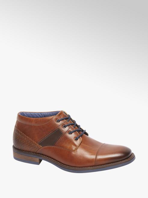 AM shoe Bruine leren halfhoge veterschoen