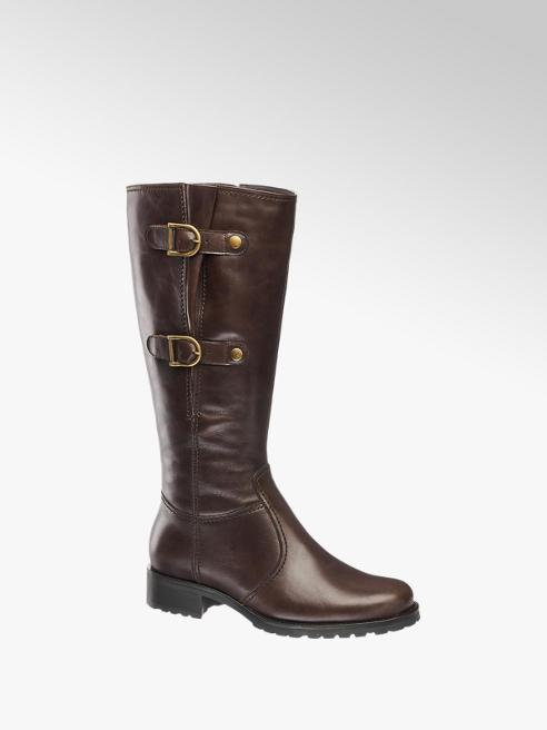 5th Avenue Dark Brown Buckle Detail Zip-up Long Leg Boot