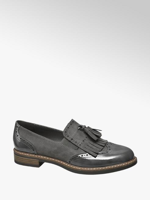 Graceland Grijze lak loafer franjes