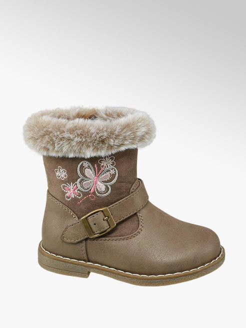 Cupcake Couture Toddler Girl Tan Embroidered Butterfly Ankle Boots