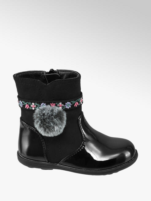Cupcake Couture Toddler Girl Black Patent Pom-Pom & Emboidered Strap Ankle Boots