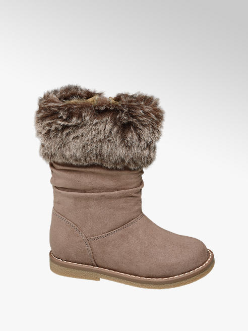 Cupcake Couture Toddler Girl Taupe Faux Fur Collar Boots