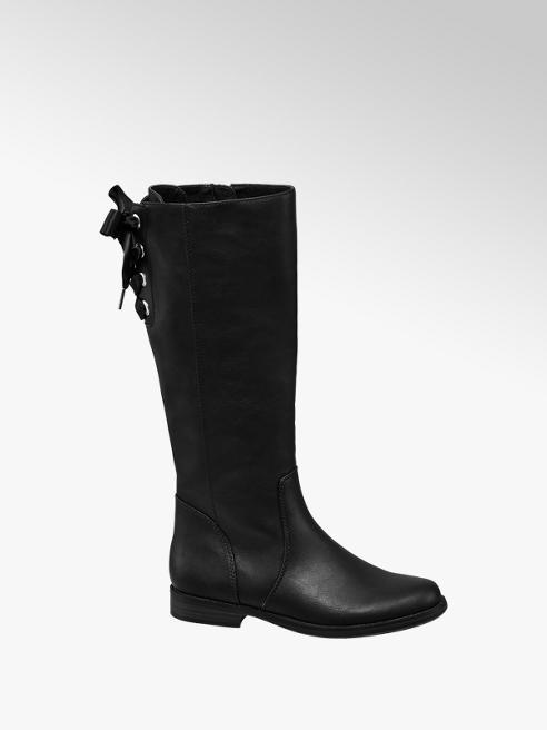 Graceland Junior Girl Black Eyelet Detail Long Leg Boots