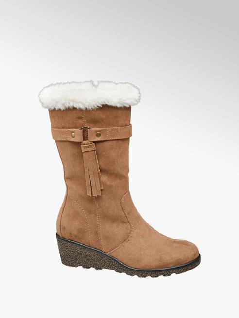 Graceland Junior Girl Tan High Leg Wedge Boots