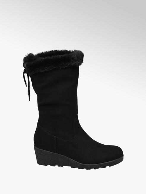 Graceland Teen Girl Black Wedge High Leg Boots