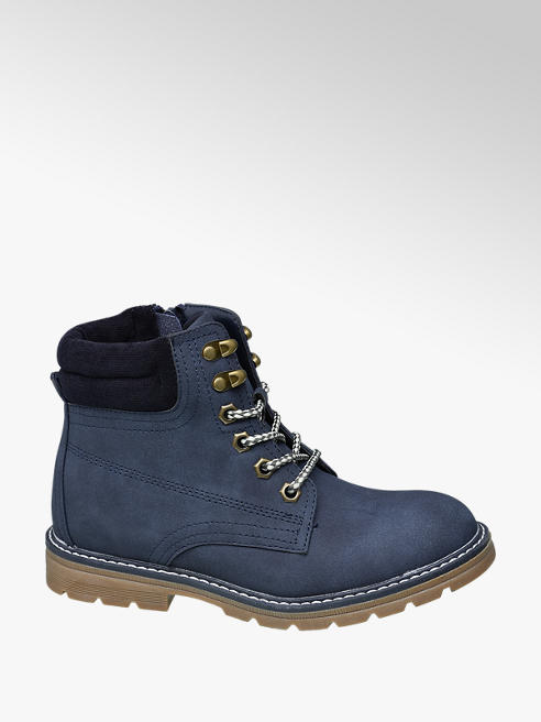 Graceland Teen Girl Navy Chunky Lace-up Ankle Boots