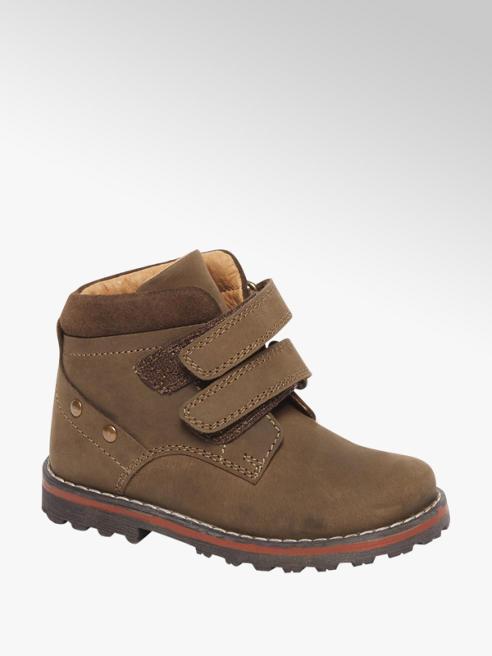 Bobbi-Shoes Khaki bruine leren velcro boot
