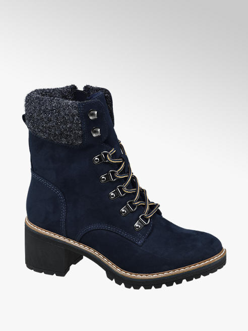 Landrover Navy Heeled Lace-up Ankle Boot