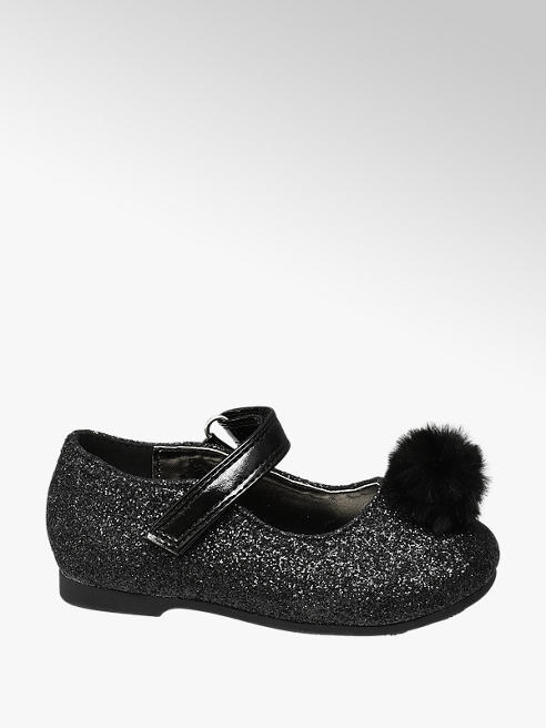 Cupcake Couture Toddler Girl Black Faux Fur Pom-Pom Ballerinas