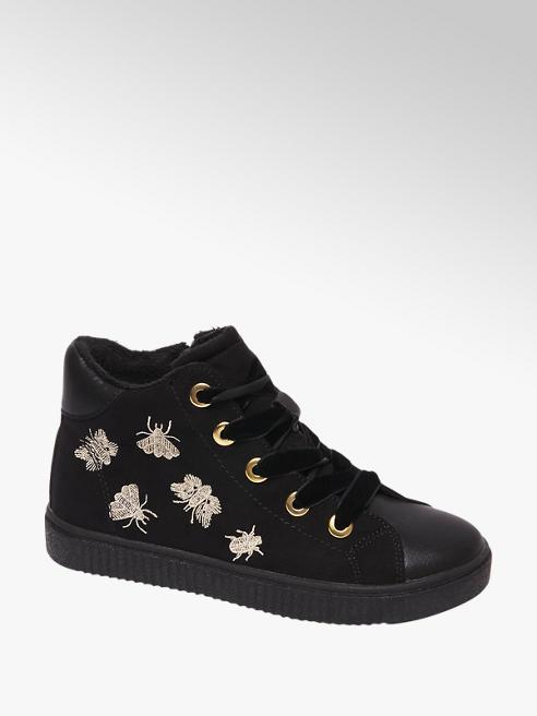 Graceland Zwarte halfhoge sneaker vetersluiting