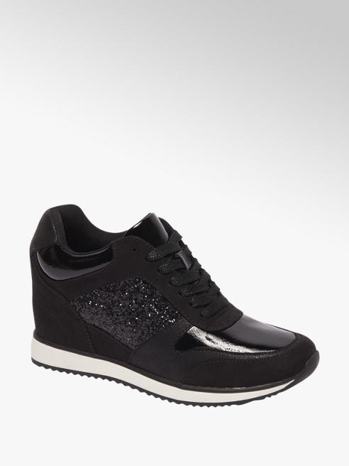 Graceland Zwarte sneaker wegde