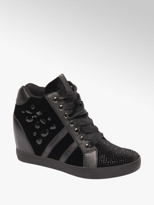 Graceland Zwarte sneaker wedge
