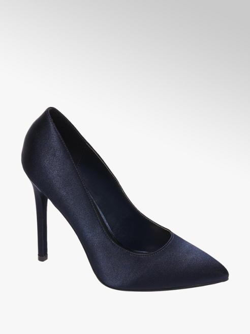 Graceland Donkerblauwe satijnen pump