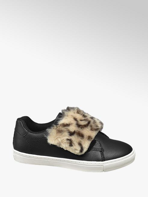 Graceland Teen Girl Black Faux Fur Trim Casual Slip On Pumps
