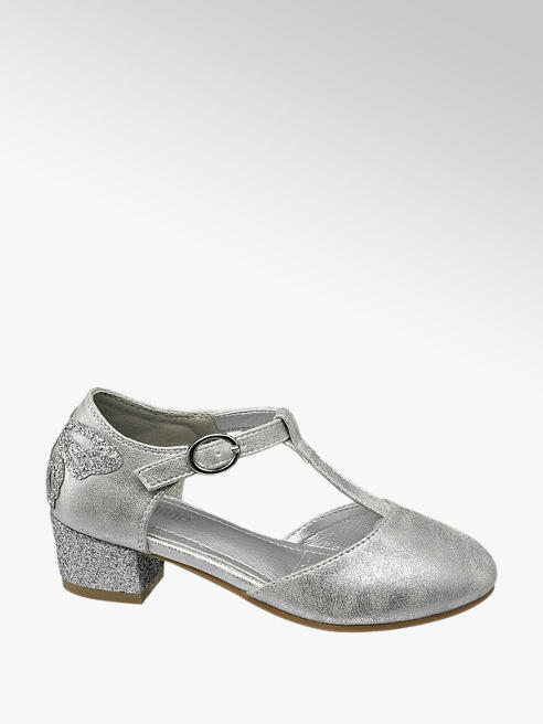 Graceland Junior Girl Silver T-Bar Party Shoes