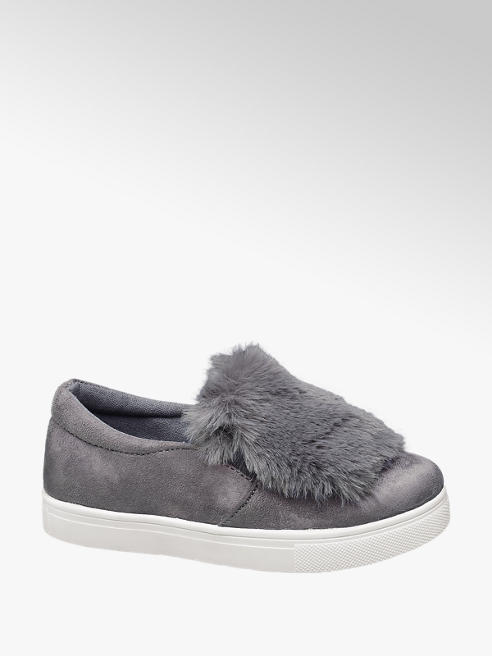 Graceland Junior Girl Grey Faux Fur Pumps