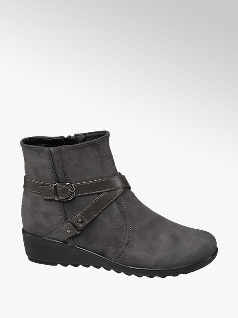 Easy Street Grey Buckle Detail Zip-up Ankle Boots
