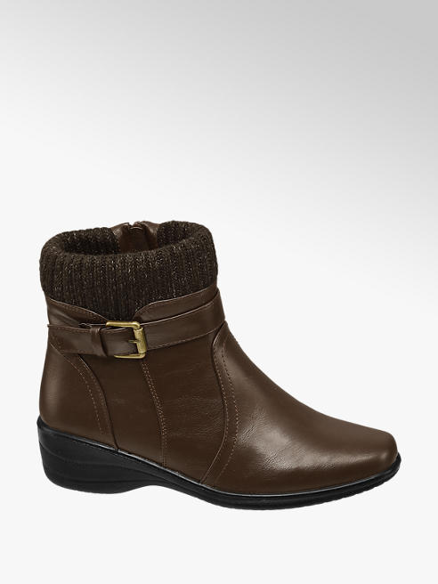 Easy Street Brown Buckle Detail Zip-up Ankle Boots