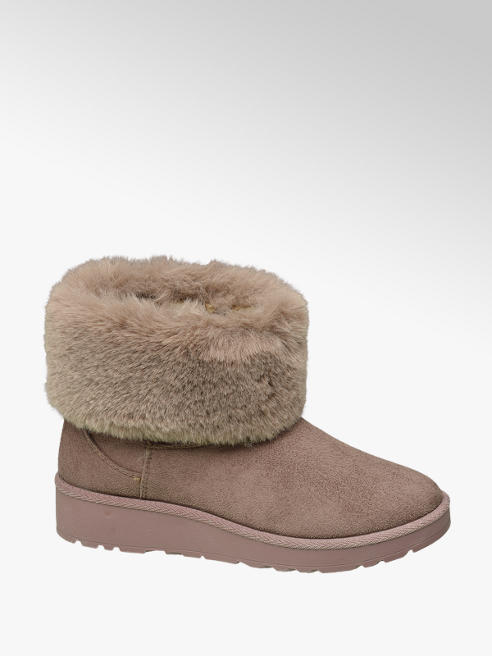 Graceland Beige Fur Lined Slip-on Boots