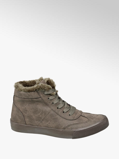 Shoptagr | Khaki Fur Lined Lace Up Trainers by Deichmann