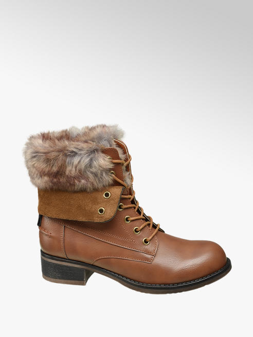 Landrover Tan Fur Top Lace-up Ankle Boot