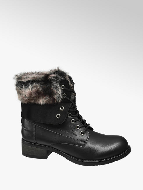 Landrover Black Fur Top Lace-up Ankle Boot