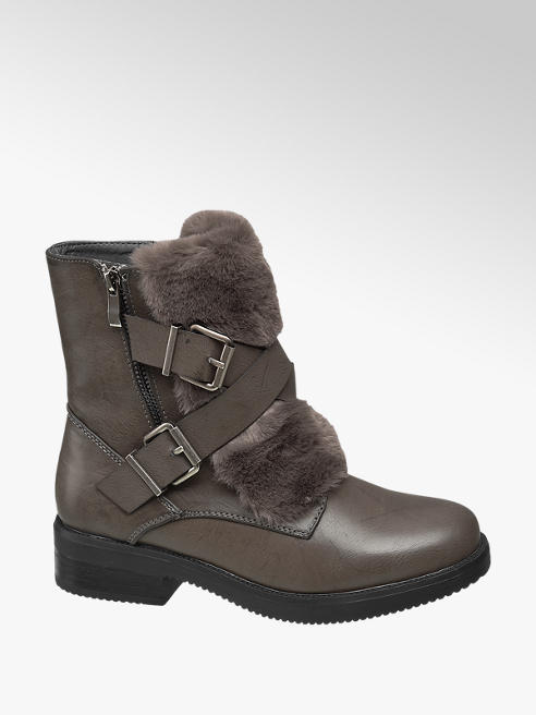 Graceland Grey Fur Detail Ankle Boots